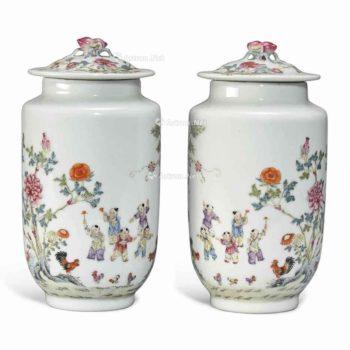 0285 光绪(1875-1908) A PAIR OF FAMILLE ROSE VASES AND COVERS
