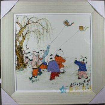 杨大川作品高温颜色釉童趣放风筝1