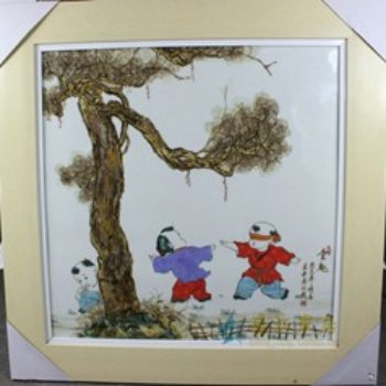 杨大川作品高温颜色釉童趣婴戏图捉迷藏04