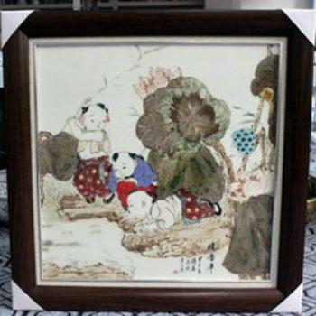杨大川作品高温颜色釉童趣婴戏图荷塘嬉戏 忆当年 09