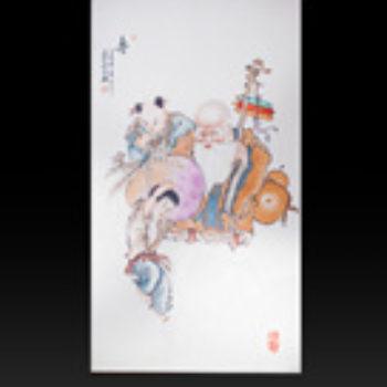 江西省工艺美术师杨大川陶瓷作品 福禄寿喜2尺6中堂四条屏瓷板画