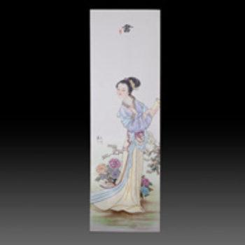 江西省工艺美术师杨大川陶瓷作品 琴棋书画粉彩2尺6长条四条屏