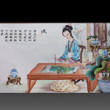 江西省工艺美术师杨大川陶瓷作品粉彩  莲 3尺6中堂瓷板画
