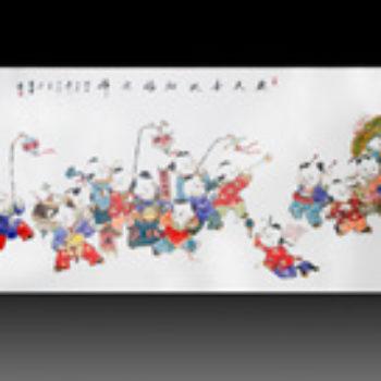 江西省工艺美术师杨大川陶瓷作品高温窑变 欢天喜地纳福迎祥3尺6中堂瓷板画