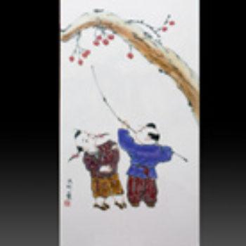 江西省工艺美术师杨大川陶瓷作品高温窑变 小块4条屏瓷板画