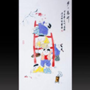 江西省工艺美术师杨大川陶瓷作品高温窑变  步步高升2尺6中堂瓷板画