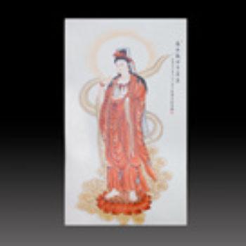 江西省工艺美术师杨大川陶瓷作品粉彩  南无观世音2尺6 中堂瓷板画