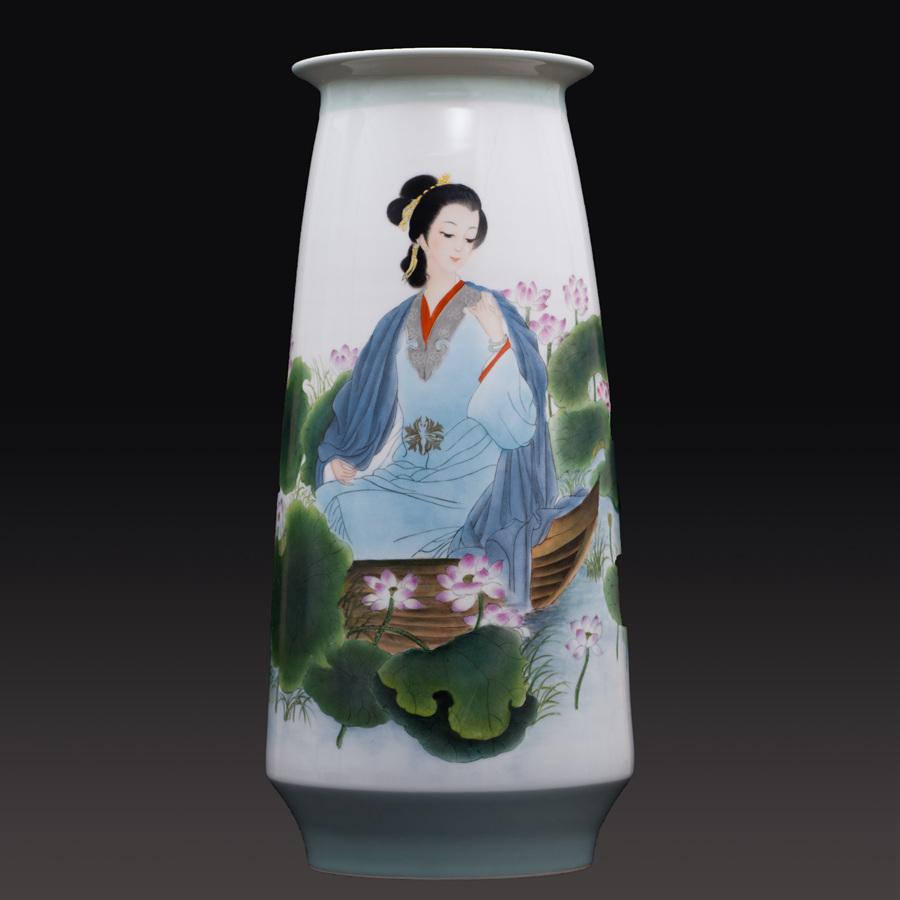 江西省工艺美术师杨大川陶瓷作品新彩 赏荷图瓷瓶