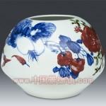 手绘青花釉里红丰收花瓶 江西省高级工艺美术师 杨守用杨荣陶瓷艺术作品