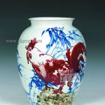 手绘青花釉里红大吉大利花瓶 江西省高级工艺美术师 杨守用杨荣陶瓷艺术作品