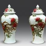 釉里红寿桃将军罐 江西省高级工艺美术师杨守用杨荣陶瓷艺术作品