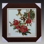 手绘釉里红 石榴 瓷板瓷板画 江西省高级工艺美术师 杨守用杨荣陶瓷艺术作品
