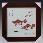手绘釉里红 鳜鱼 富贵有余瓷板瓷板画 江西省高级工艺美术师 杨守用杨荣陶瓷艺术作品