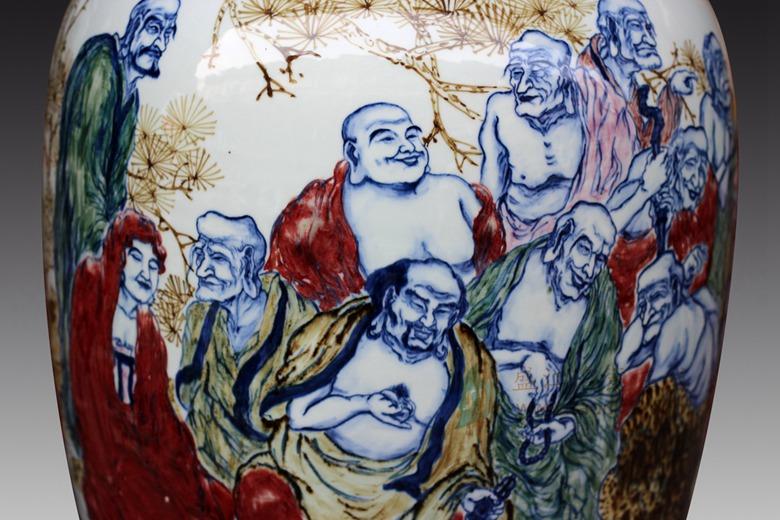 手绘釉下彩 人物十八罗汉图 花瓶杨荣杨守用陶瓷作品江西省工艺美术大师