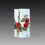 手绘青花釉里红石榴四方菱形花瓶 江西省高级工艺美术师 杨守用杨荣陶瓷艺术作品