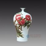 手绘青花釉里红石榴梅瓶花瓶 箭筒江西省高级工艺美术师 杨守用杨荣陶瓷艺术作品