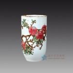 手绘青花釉里石榴 直筒瓶子花瓶 箭筒江西省高级工艺美术师 杨守用杨荣陶瓷艺术作品