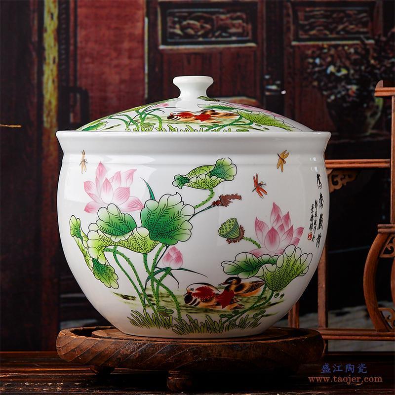 欢畅景德镇 陶瓷米缸米桶茶叶末缸水缸密封50斤100斤20斤200斤cym-532621005782