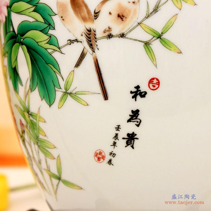 e009 景德镇欢畅陶瓷百子闹春图花瓶 摆件 家居摆件 新款-39448459496