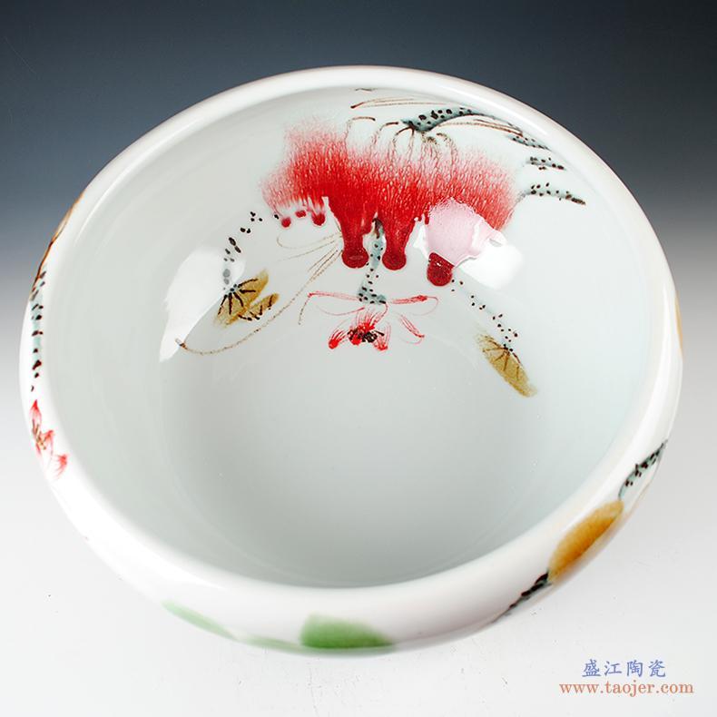 景德镇陶瓷器 手绘釉下五彩花瓶插花摆件 中式客厅酒柜玄关装饰品-520342898699