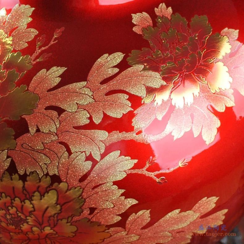 仿古钧瓷景德镇陶瓷花瓶摆件客厅插花花器中式家居装饰落地大花瓶-532043627141