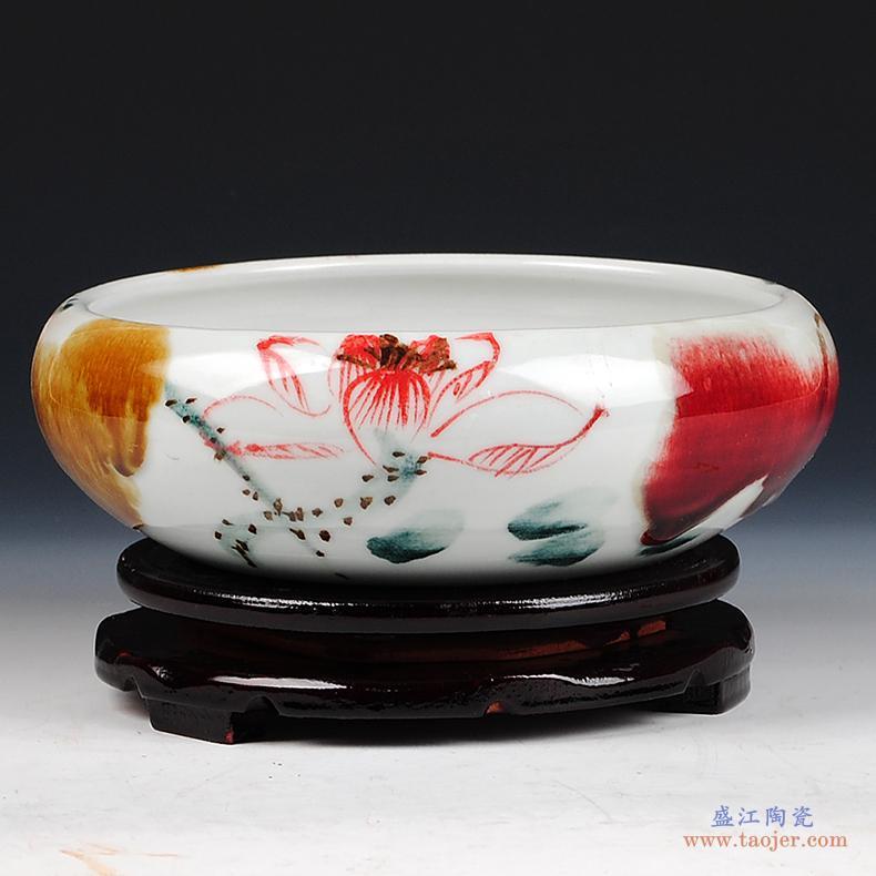 景德镇陶瓷器落地大花瓶插花新中式客厅电视柜玄关装饰品摆件大号-530797849881
