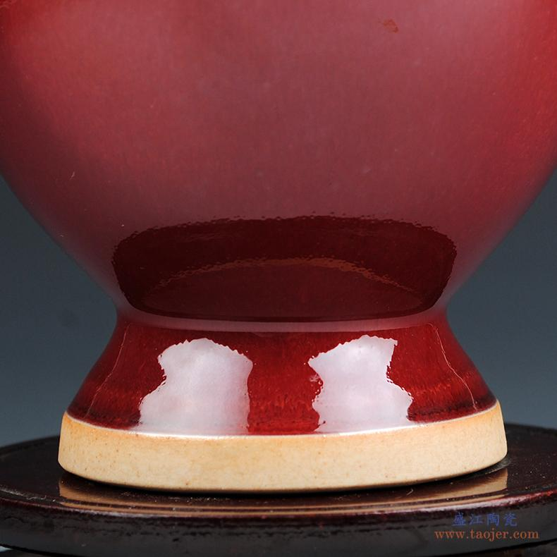景德镇陶瓷器手工浮雕荷花将军罐花瓶摆件仿古新中式客厅玄关摆设-531293996993