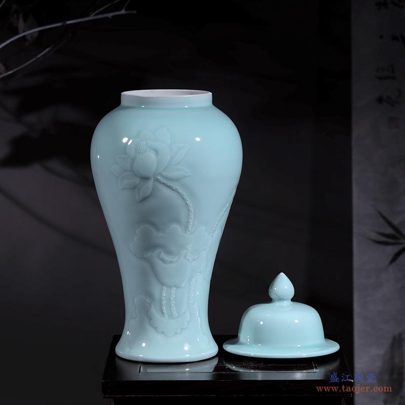 景德镇陶瓷金鱼缸手绘青花水浅瓷器乌龟缸荷花睡莲盆摆件 特大号-560179436582