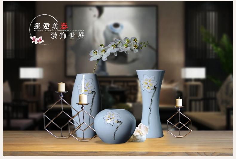 景德镇陶瓷器 仿古青花玲珑薄胎骨瓷花瓶 客厅家居装饰工艺品摆件-544737584101