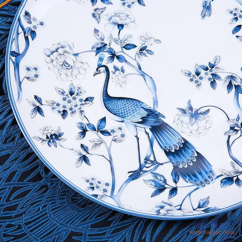 vidsel高档美式唐山骨瓷餐具套装北欧式碗盘碗碟套装家用中式陶瓷-539330615864