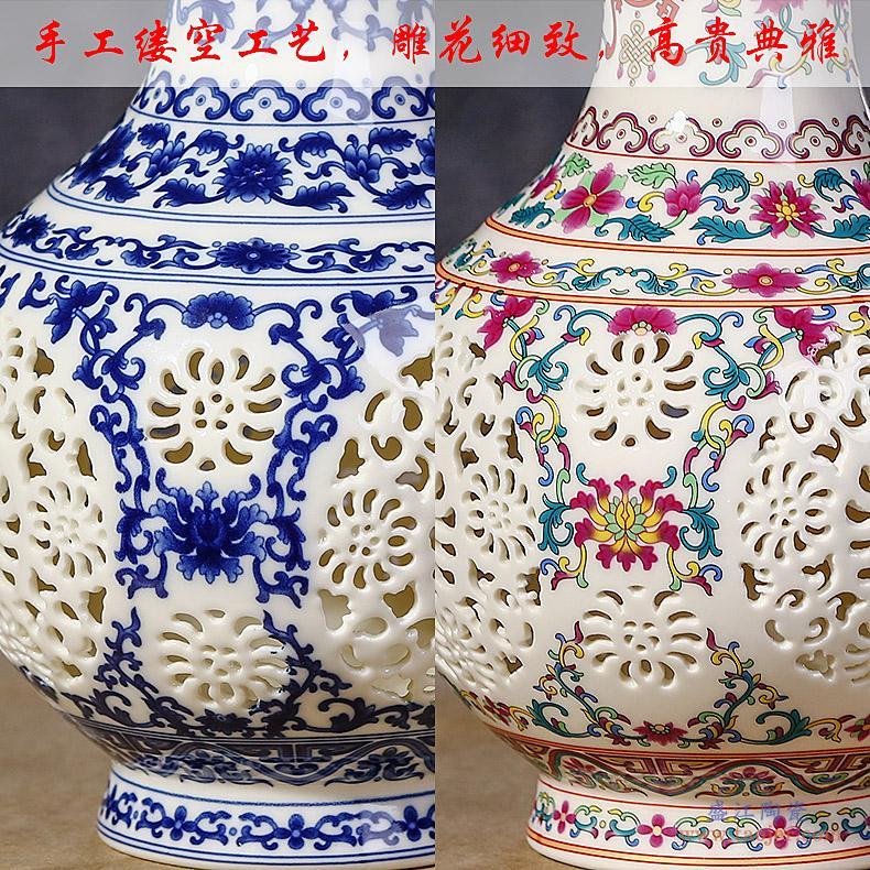 现代新中式落地大花瓶景德镇陶瓷器手绘干花插花器客厅电视柜摆件-533171804907