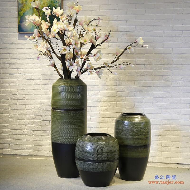 景德镇新中式酒店别墅餐厅落地大号摆设花瓶会所陶瓷摆件客厅花插