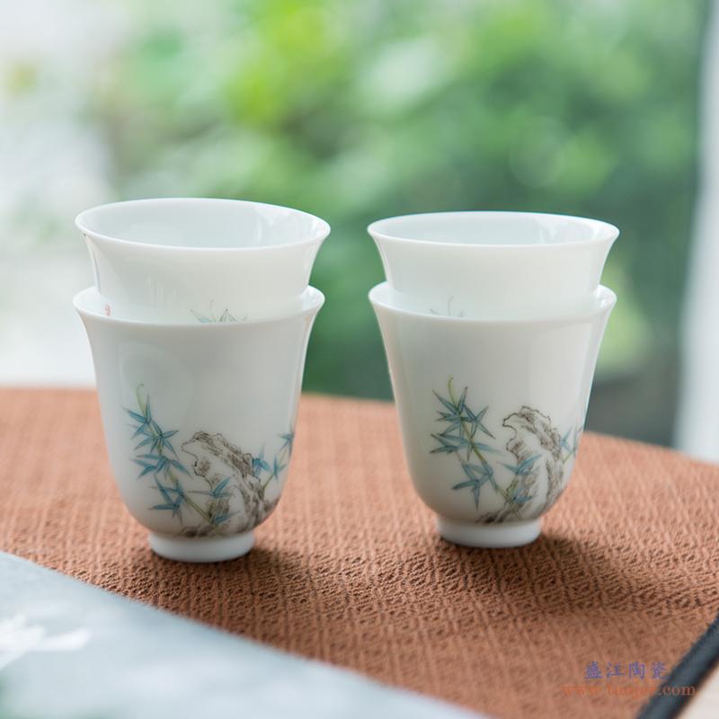 弄子里陶瓷品茗杯子景德镇功夫茶具建盏主人杯单个家用白瓷小茶杯