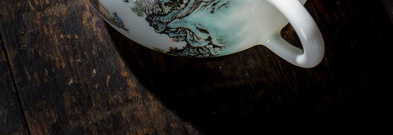 圣大陶瓷功夫茶壶手绘新彩山水石瓢壶全手工景德镇茶具泡茶壶单壶