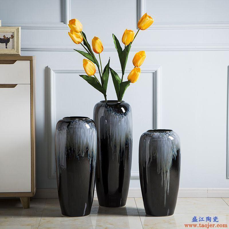 景德镇陶瓷落地花瓶客厅插花欧式简约渐变釉高花瓶大号摆件大花瓶