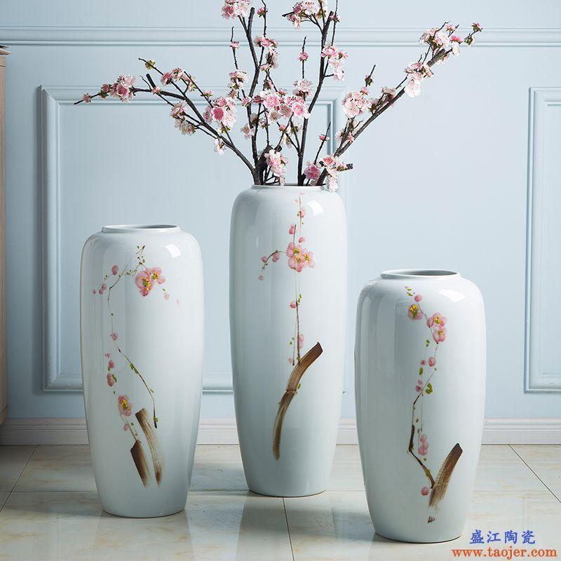 景德镇陶瓷花瓶客厅插花落地大号干花陶艺瓷瓶装饰品玄关白色摆设