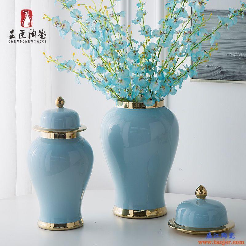 花瓶摆件客厅插花白色瓷瓶带盖蓝色瓷器绿色花器粉色装饰瓶红色