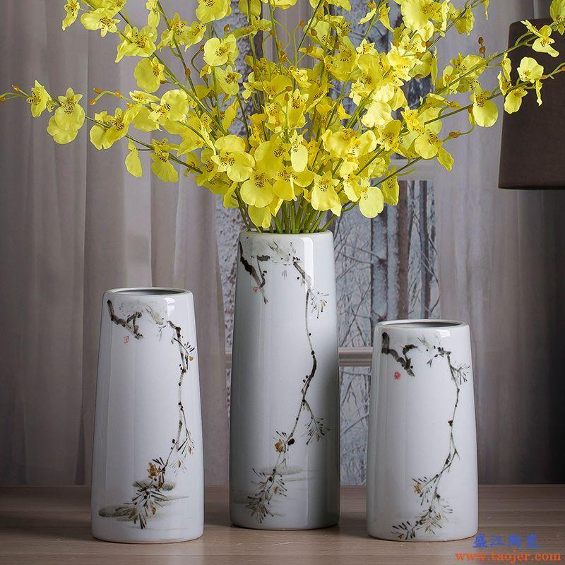 景德镇陶瓷手绘花瓶客厅办公室圆形艺术瓷瓶新中式办公桌花器摆件