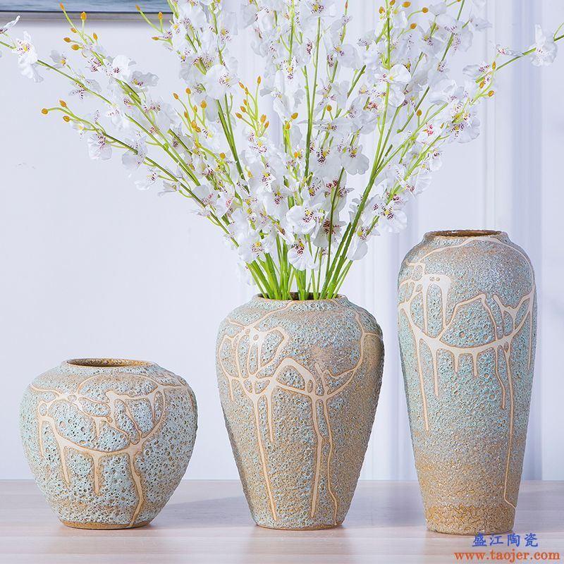 景德镇陶瓷花瓶插花粗陶罐花盆仿古玄关瓷器摆件复古陶艺干花瓷瓶