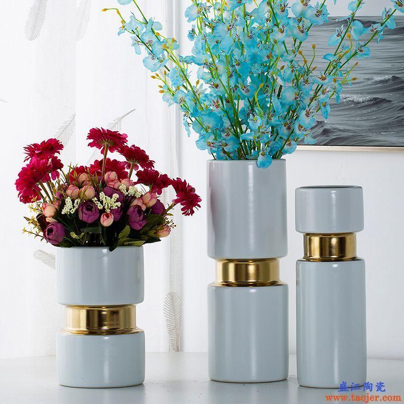 白色瓷瓶景德镇客厅餐桌装饰品花瓶摆设北欧现代简约宽口陶瓷花器