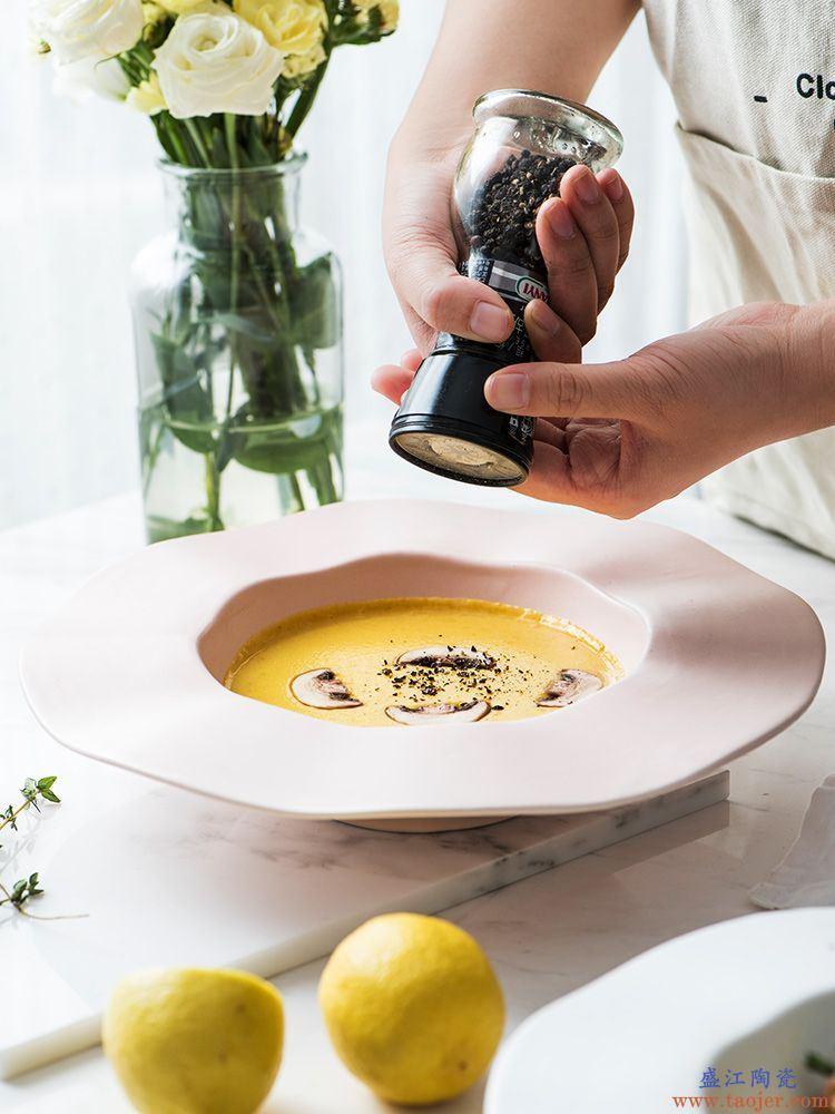 ijarl亿嘉 创意简约欧式哑光陶瓷意面盘 家用西餐盘草帽碗汤盘子