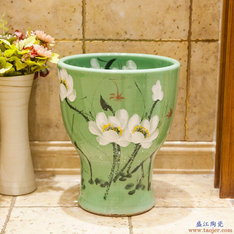 景德镇陶瓷简约家用拖把池艺术拖把盆阳台拖布池拖把池绿荷花