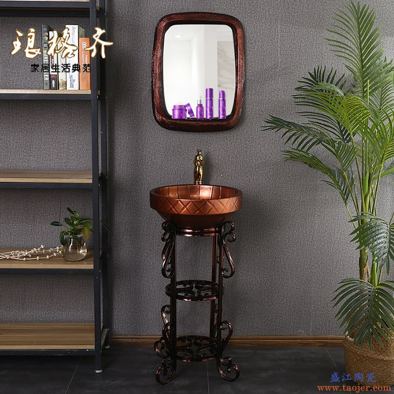 陶瓷立柱盆洗脸盆金属釉洗手盆卫生间柱式台盆欧式简约一体立架盆