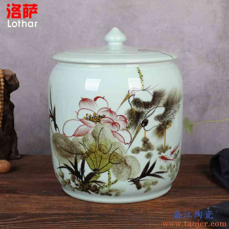 陶瓷米缸带盖米桶15/25斤面粉缸茶叶米盒密封茶叶缸油缸杂粮储物