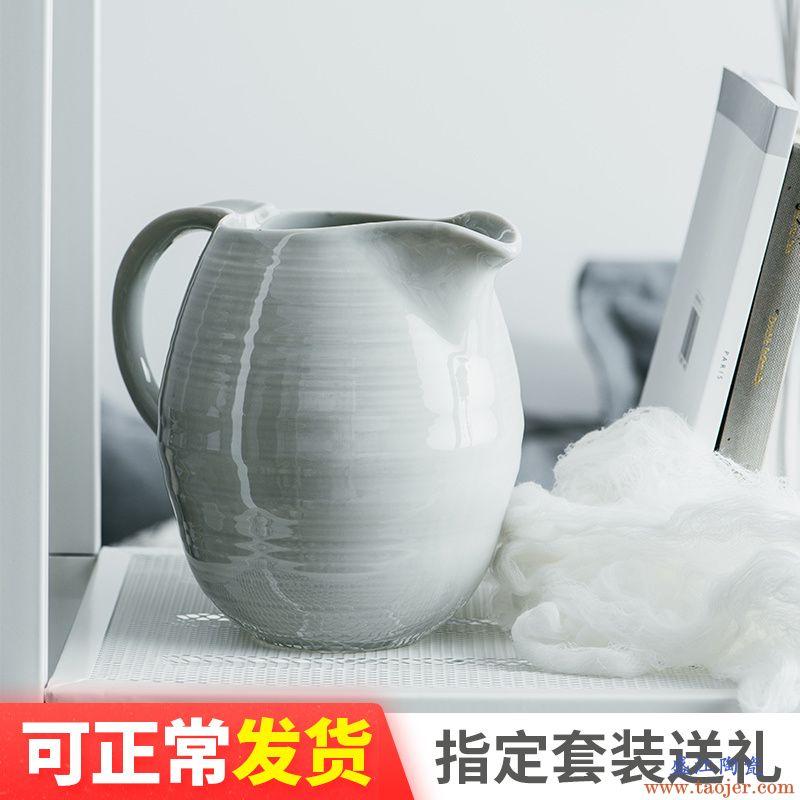 ijarl家用大容量陶瓷冷水壶欧式凉水壶创意大号ins奶缸 维克沙滩