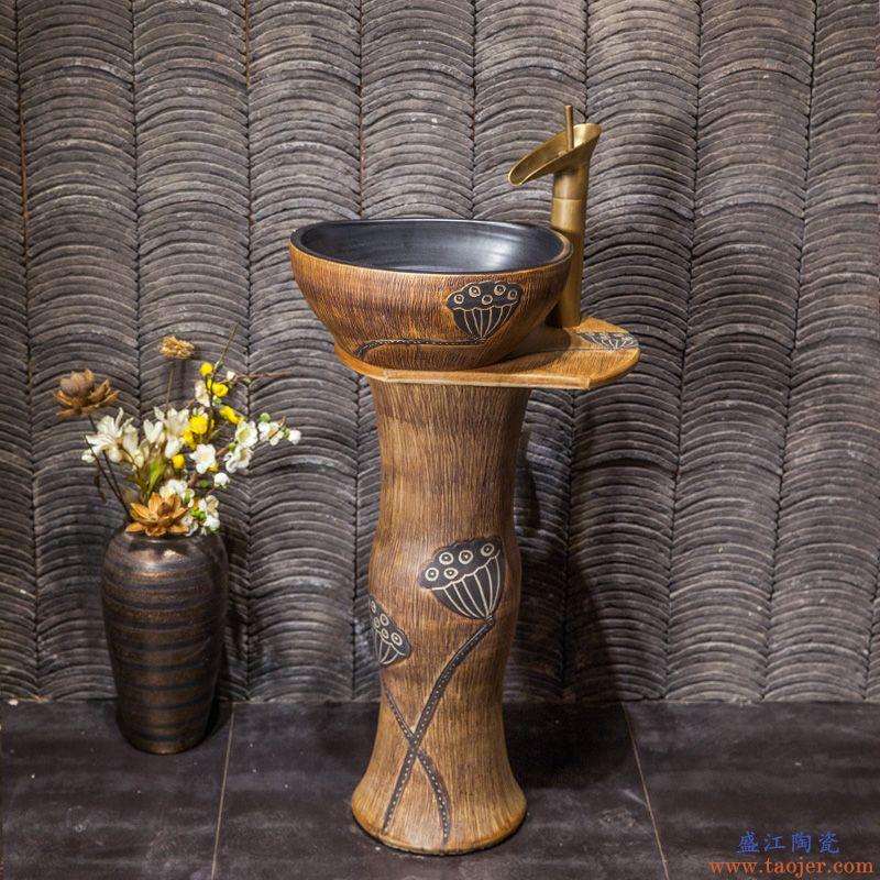 小号洗手台盆一体立盆陶瓷立柱式洗脸立柱盆卫生间柱盆立式落地式