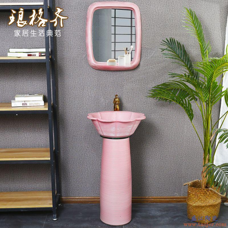 陶瓷立柱盆创意柱式洗手盆洗脸盆卫生间阳台艺术柱盆一体落地台盆