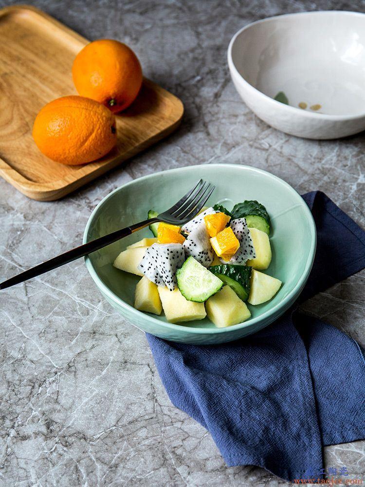 ijarl北欧风水果沙拉碗日式家用冰裂釉陶瓷餐具网红汤面饭菜碗盘