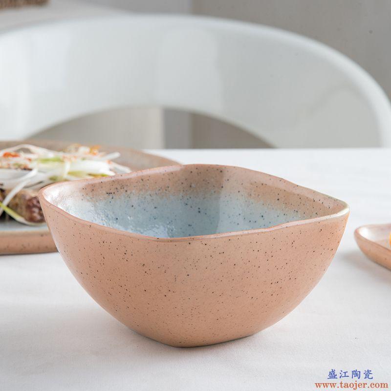 ijarl亿嘉创意陶瓷方形面碗 水果沙拉碗 甜品碗 汤碗 菜碗