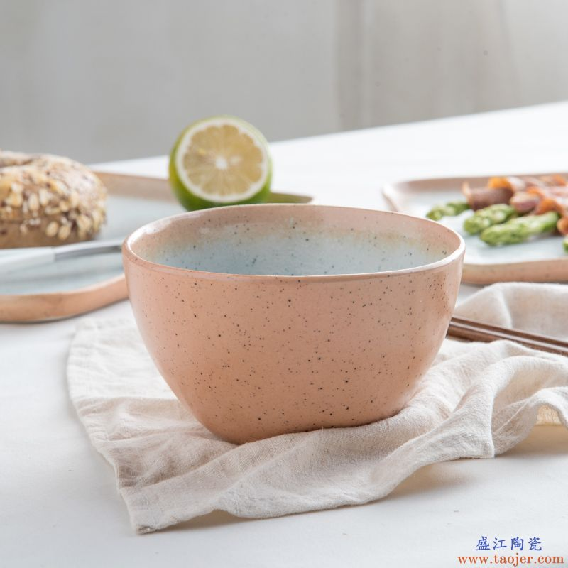 ijarl亿嘉陶瓷大号米饭碗小面碗汤碗5.5英寸碗热海系列